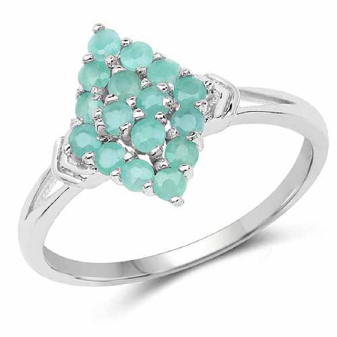 0.80 Carat Genuine Emerald .925 Sterling Silver Ring