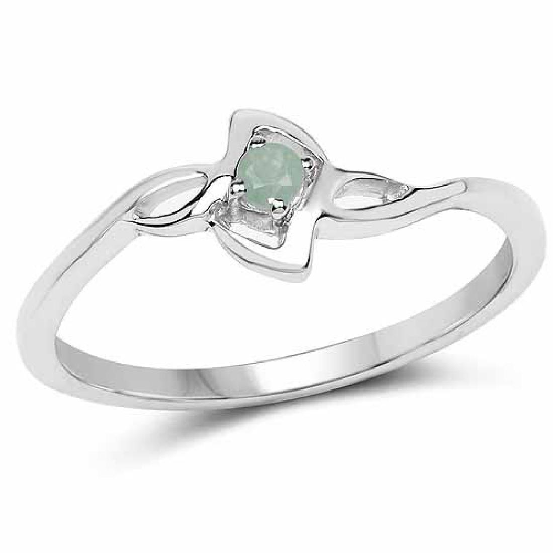 0.06 Carat Genuine Emerald .925 Sterling Silver Ring
