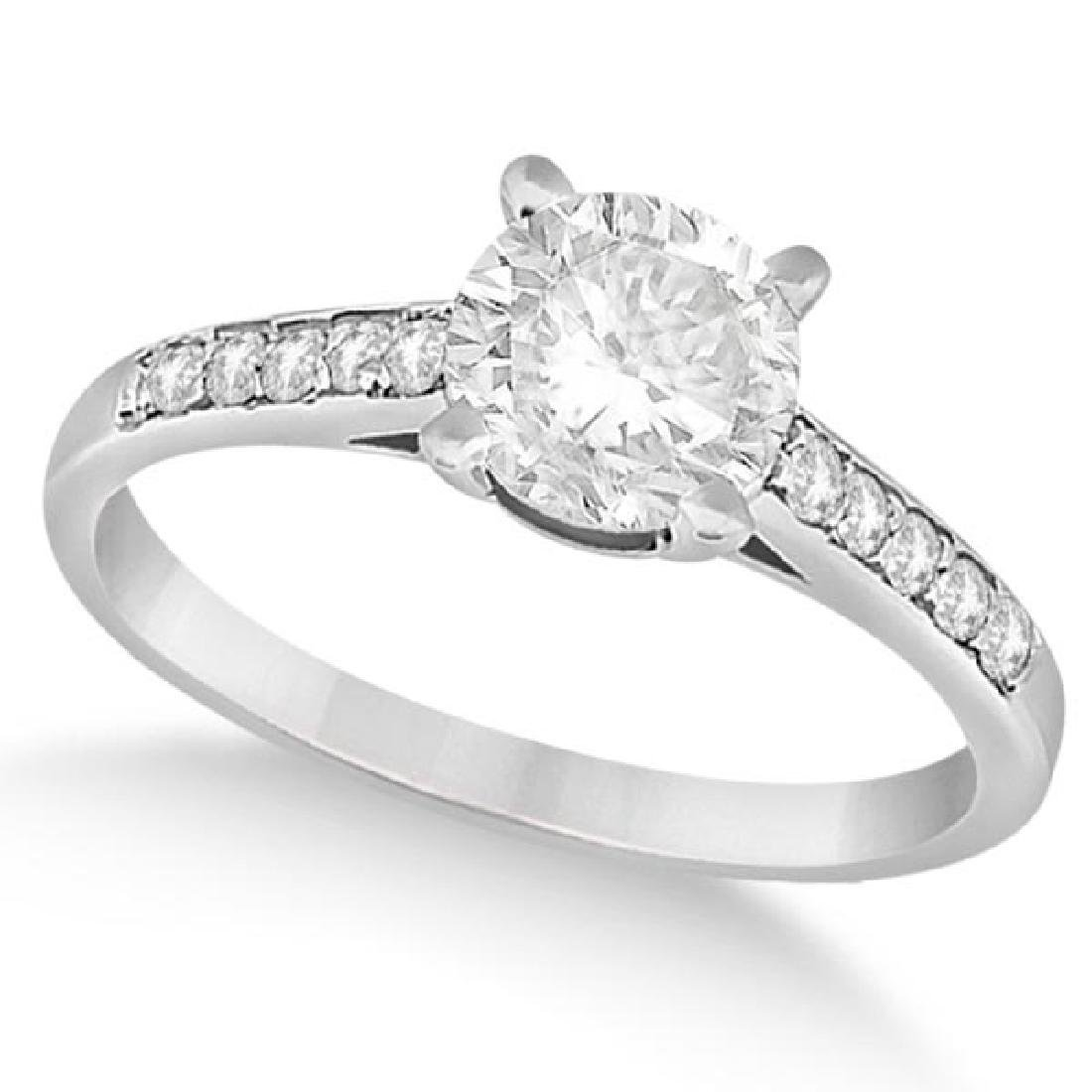 Cathedral Style Round Diamond Engagement Ring 14k White