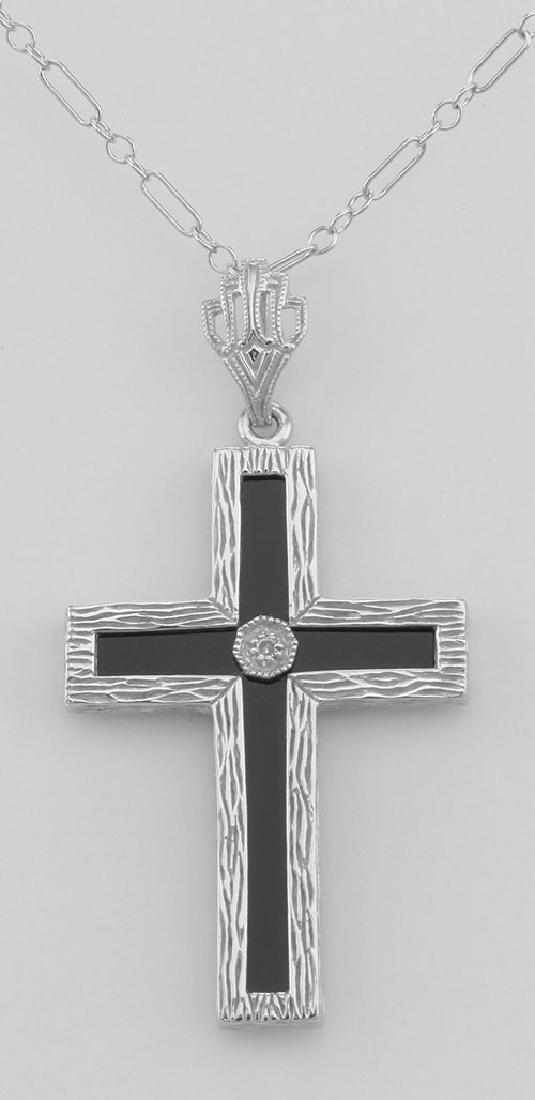 Beautiful Black Onyx Cross with Diamond Accent Center -