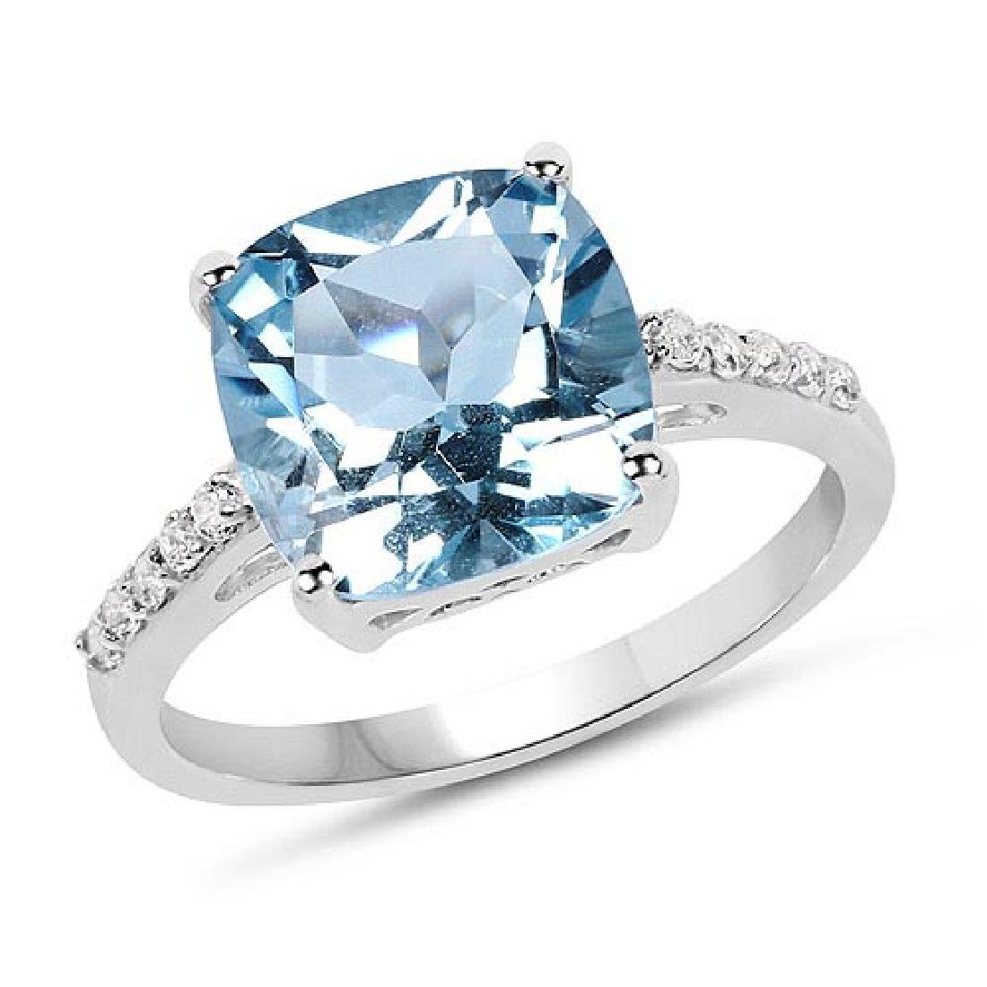 5.33 Carat Genuine Blue Topaz and White Topaz .925 Ster