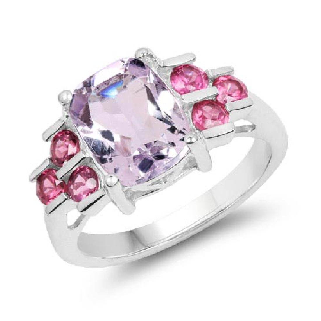 3.18 Carat Genuine Pink Amethyst and Rhodolite .925 Ste