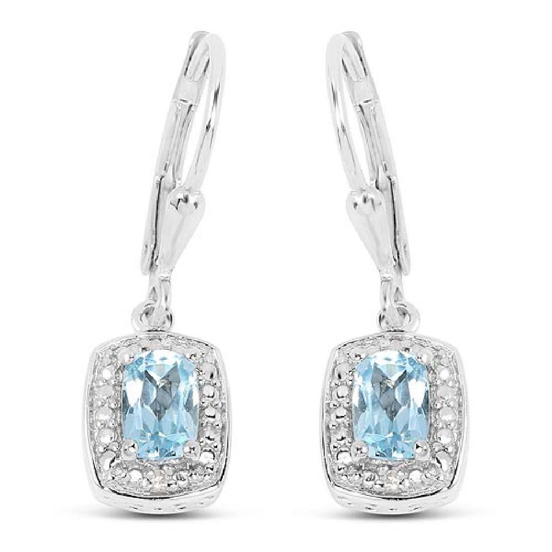 1.23 Carat Genuine Blue Topaz and White Diamond .925 St