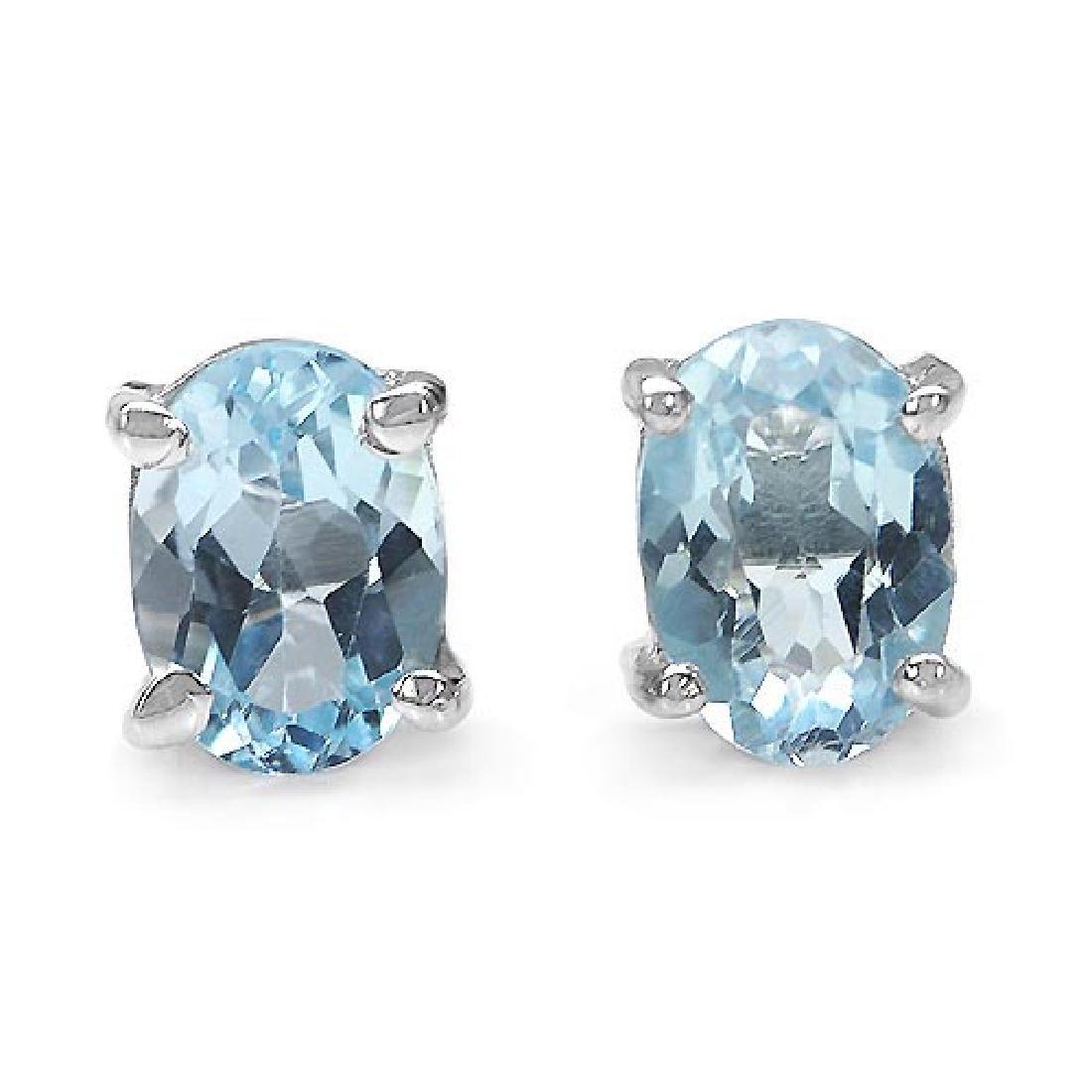 2.00 Carat Genuine Blue Topaz .925 Sterling Silver Earr