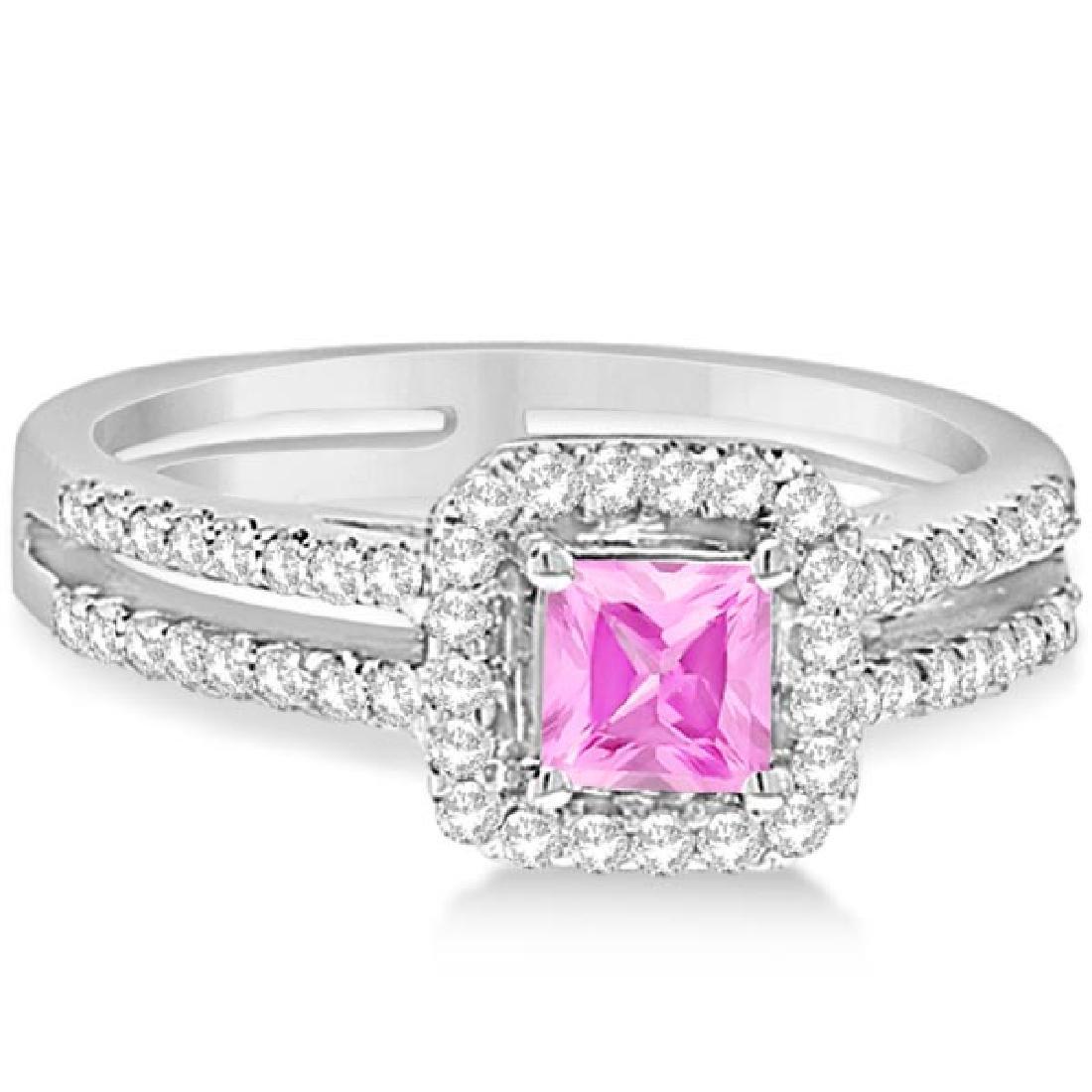 Enhanced Pink Diamond Engagement Ring Split Shank 18K W