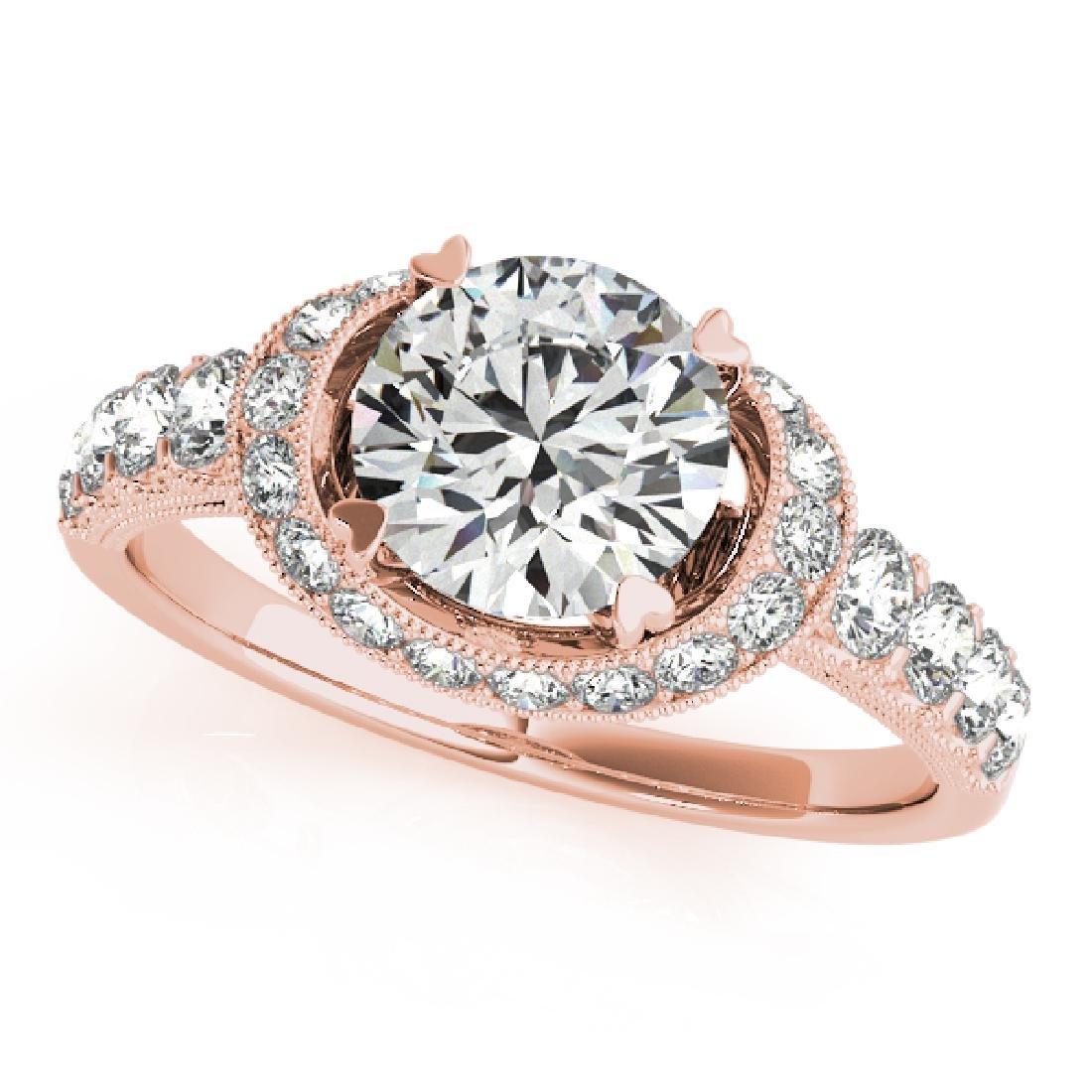 CERTIFIED 18K ROSE GOLD 1.14 CT G-H/VS-SI1 DIAMOND HALO