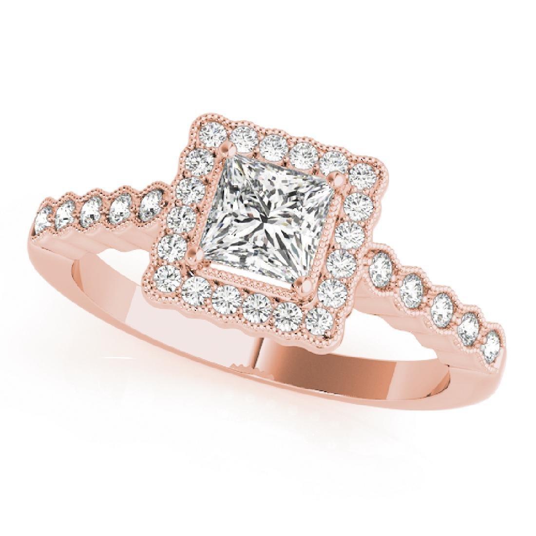 CERTIFIED 18K ROSE GOLD 0.95 CT G-H/VS-SI1 DIAMOND HALO