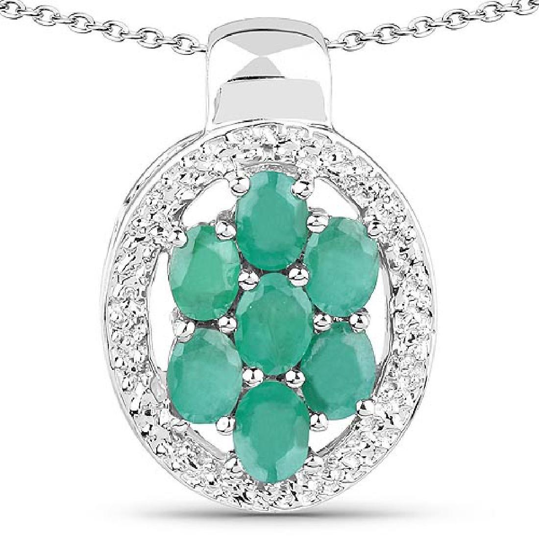 0.98 Carat Genuine Emerald .925 Sterling Silver Pendant