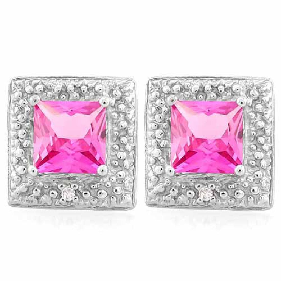 1 1/2 CARAT CREATED PINK SAPPHIRE & DIAMOND 925 STERLIN