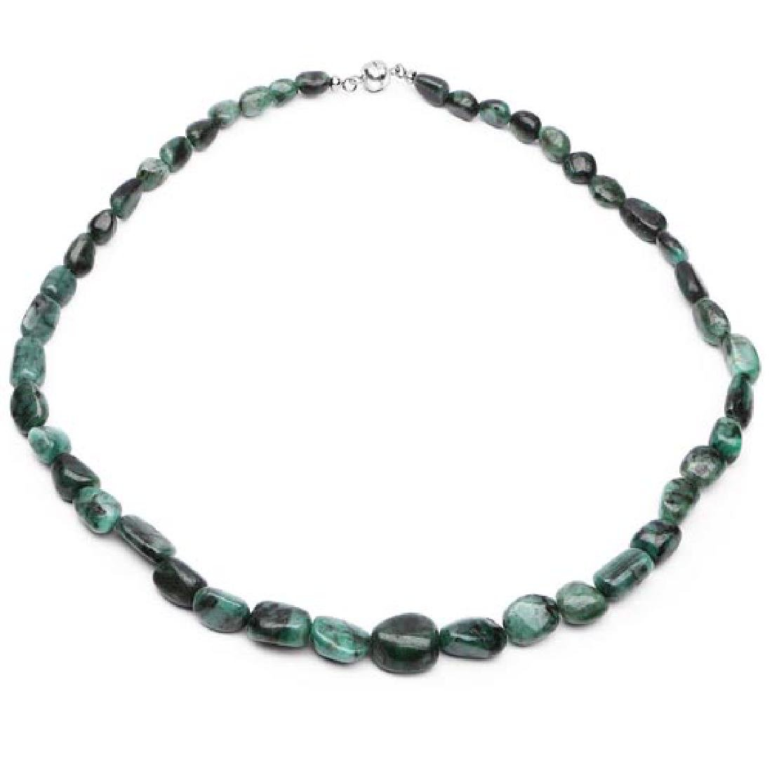 372.00 Carat Genuine Emerald .925 Sterling Silver Beads