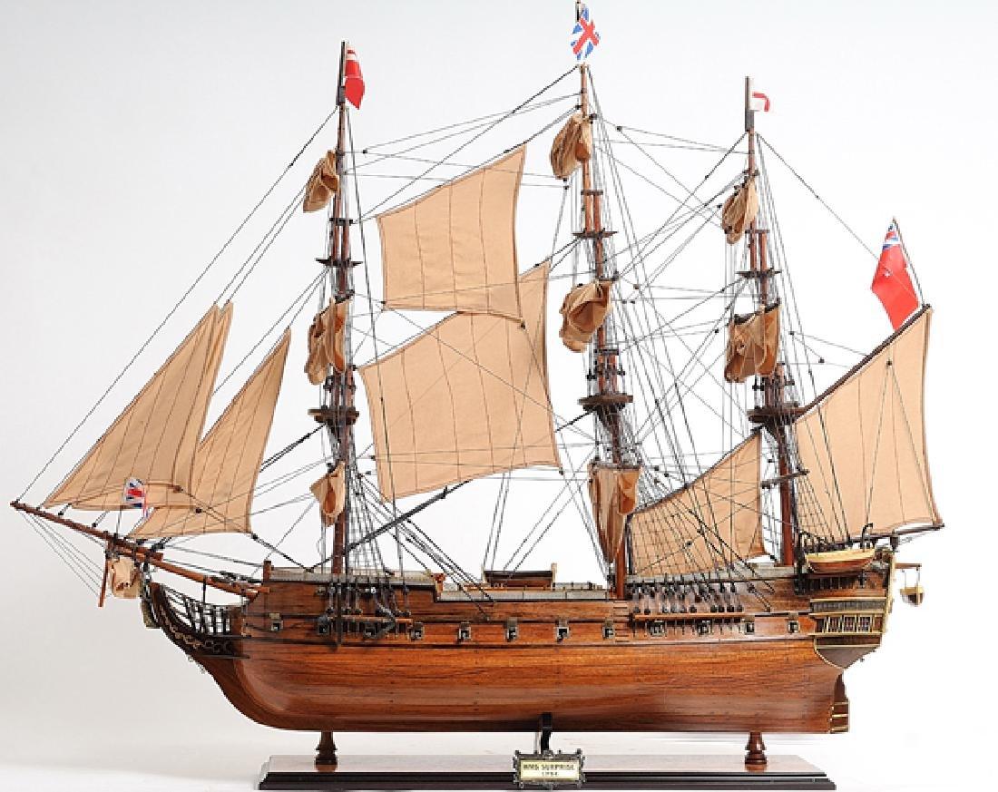 HAND MADE WOODEN HMS Surprise W/COA