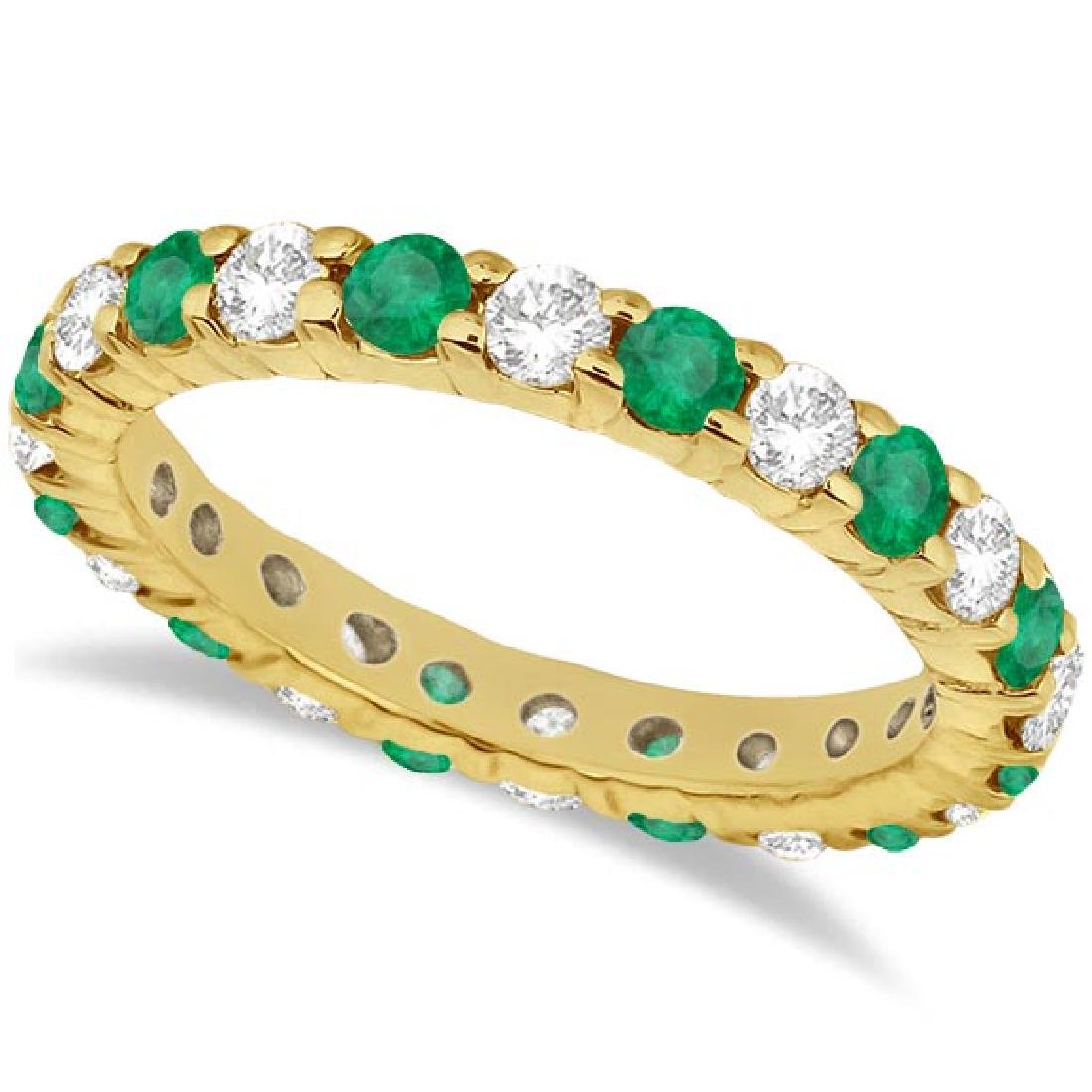 Eternity Diamond and Emerald Ring Band 14k Yellow Gold