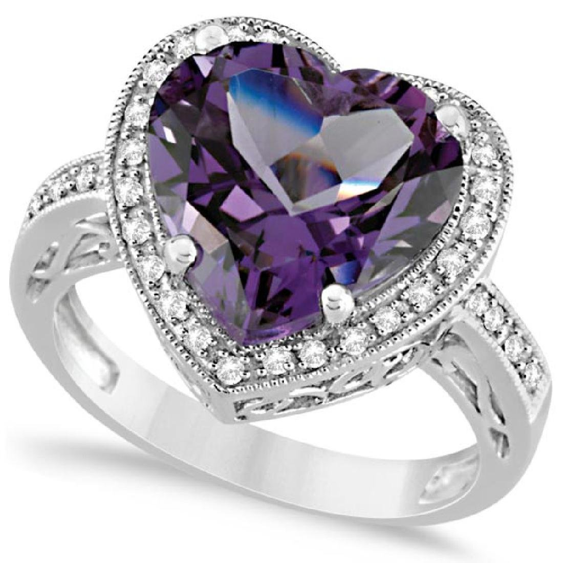 Heart Shaped Amethyst and Diamond Ring Halo 14K White G