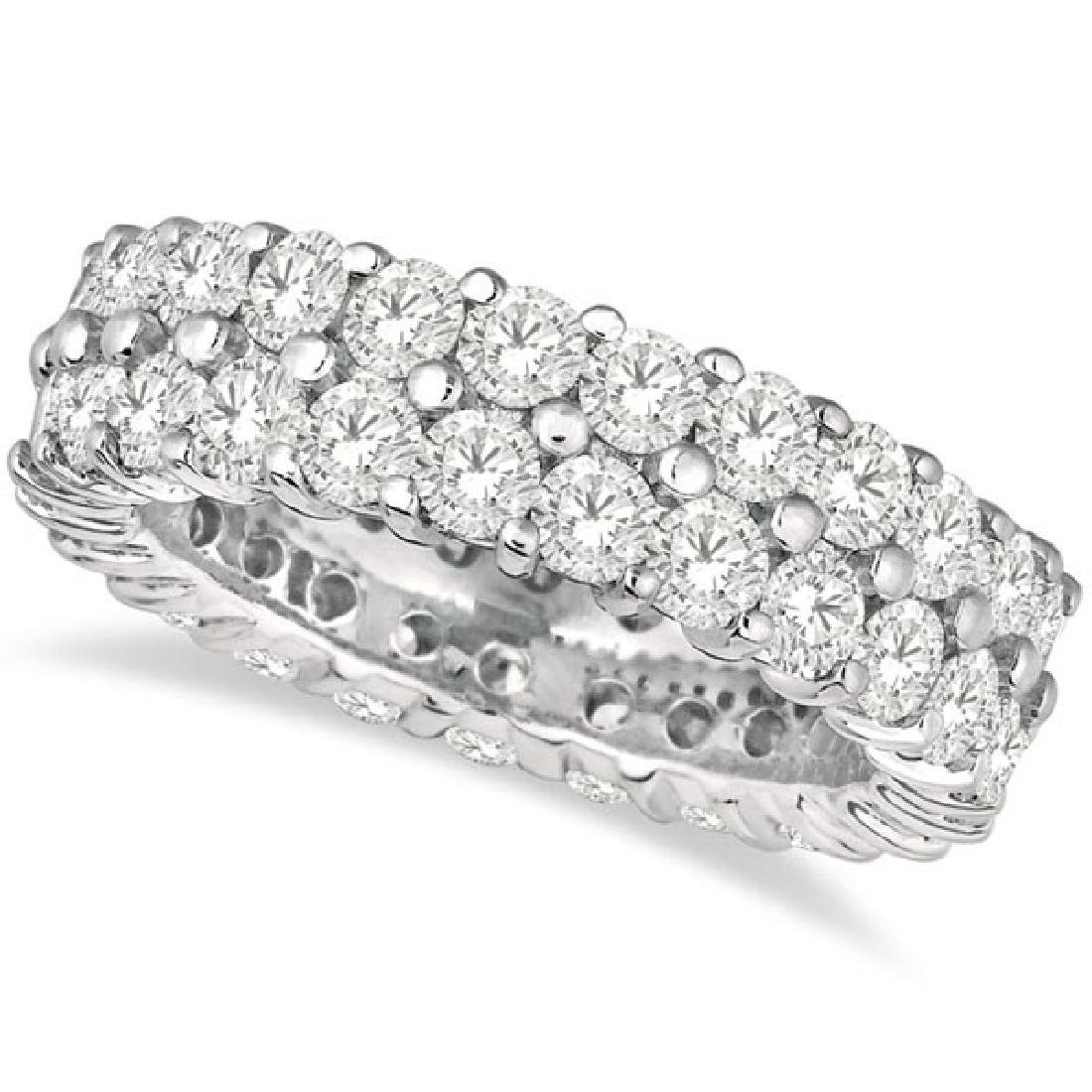 Two-Row Wide Band Diamond Eternity Ring 18k White Gold