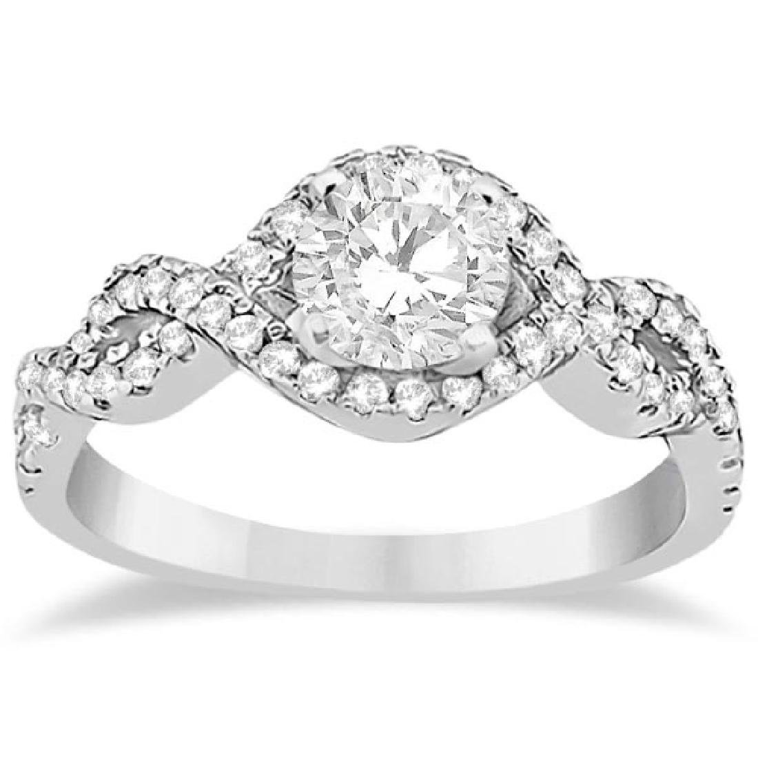 Diamond Halo Infinity Engagement Ring In 14K White Gold