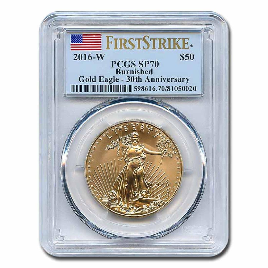 Certified Burnished American $50 Gold Eagle 2016-W SP70