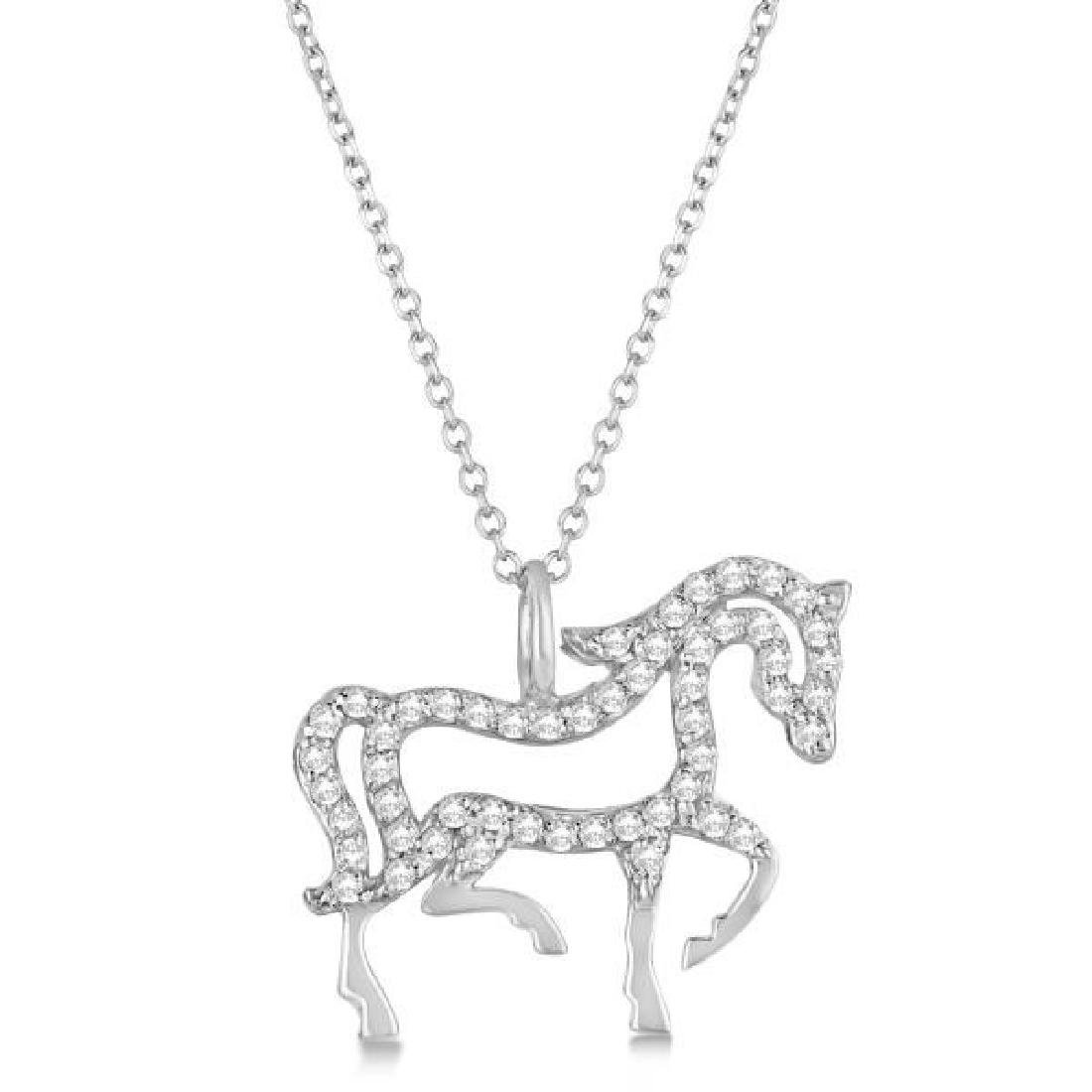 Diamond Galloping Horse Pendant Necklace 4k White Gold