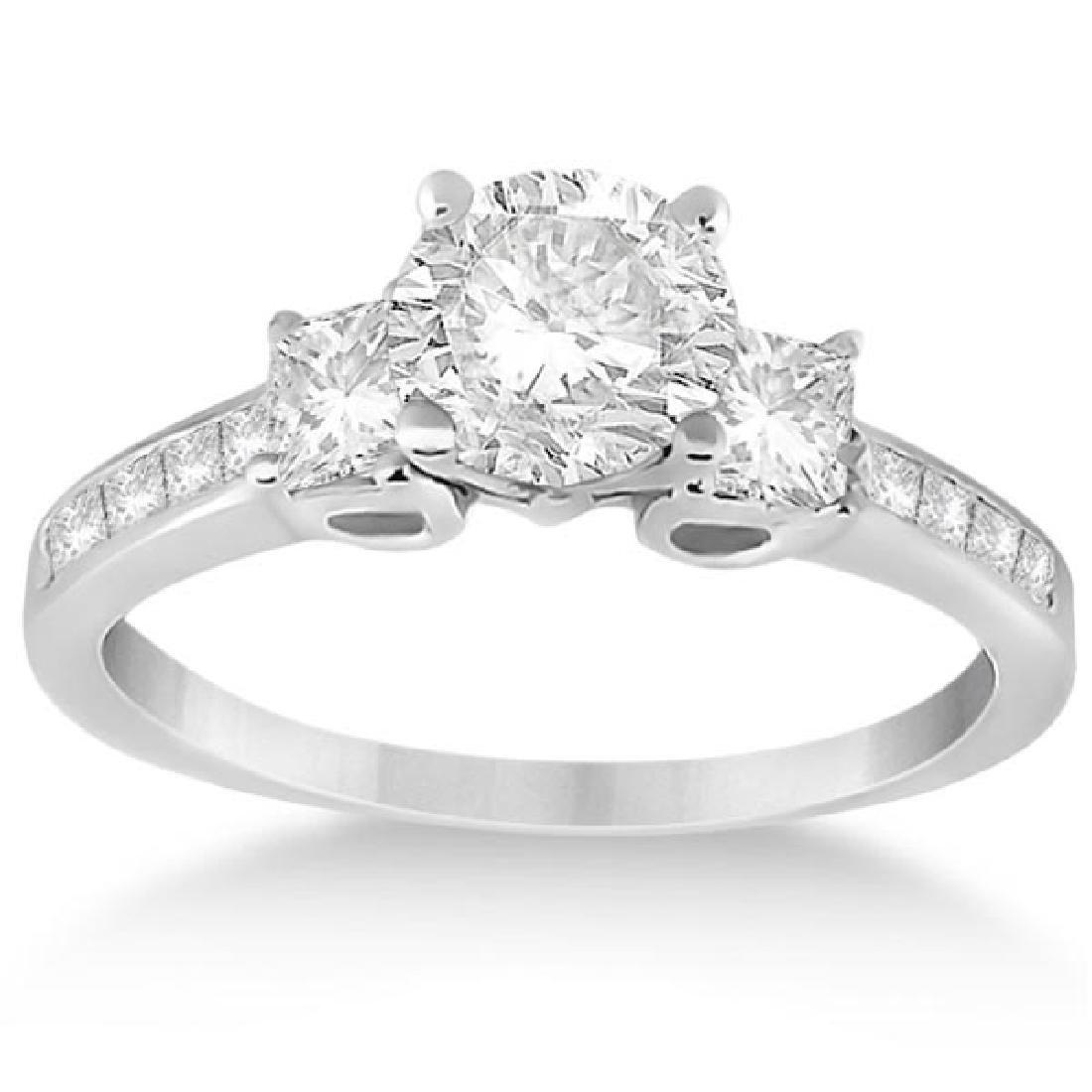 Three-Stone Princess Cut Diamond Engagement Ring 14k Wh