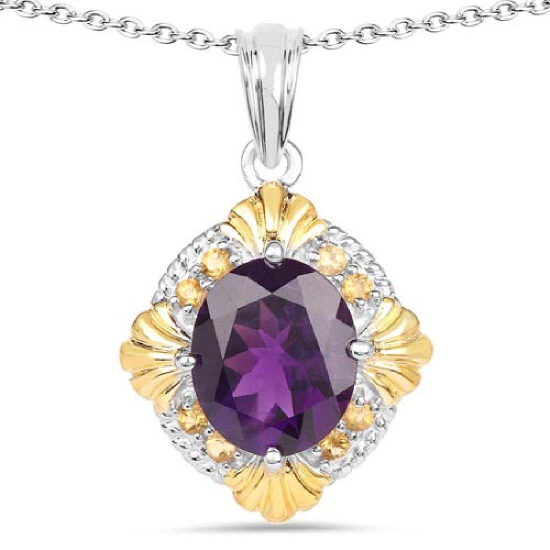 5.50 Carat Genuine Amethyst and Citrine .925 Sterling S