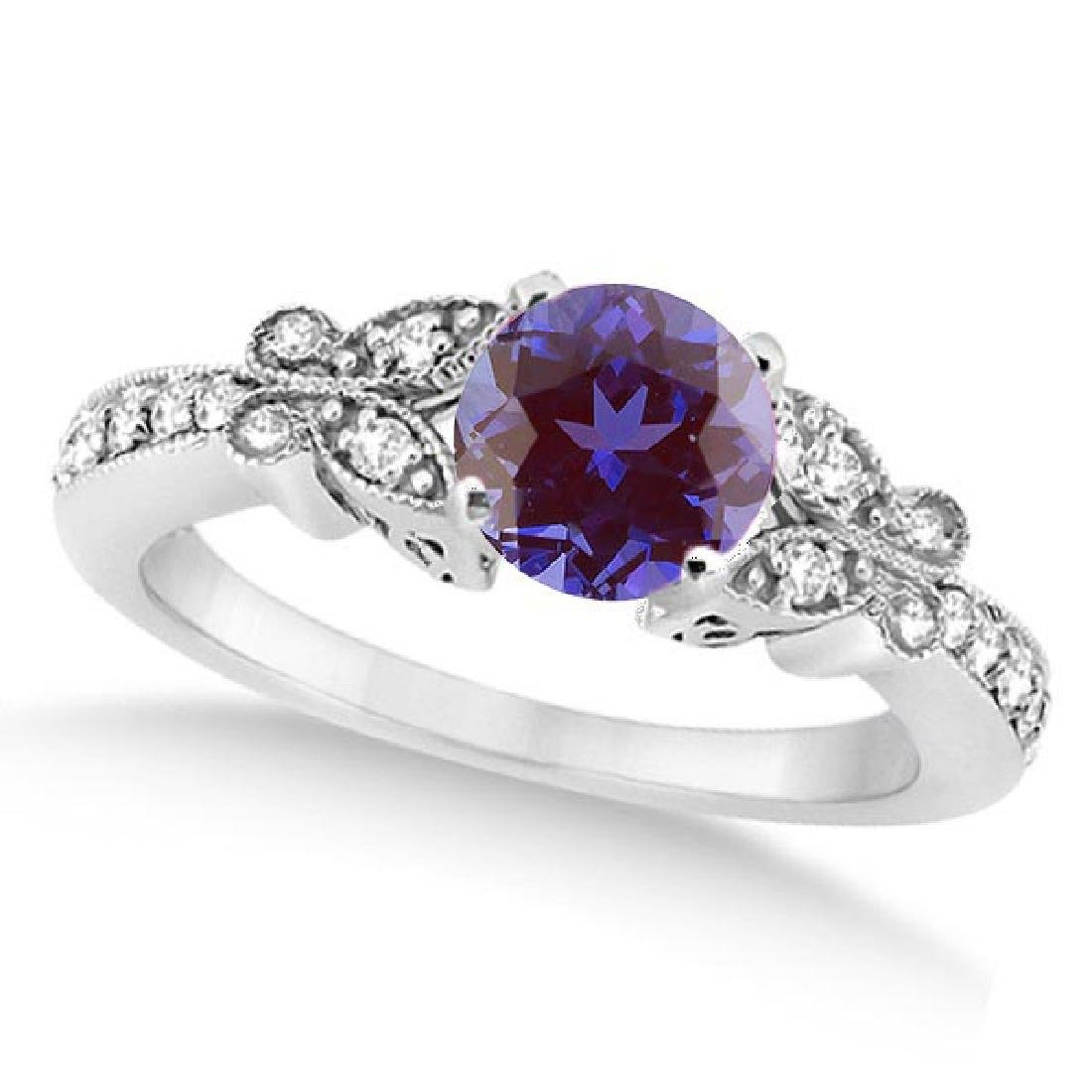 Butterfly Alexandrite and Diamond Engagement Ring 14K W