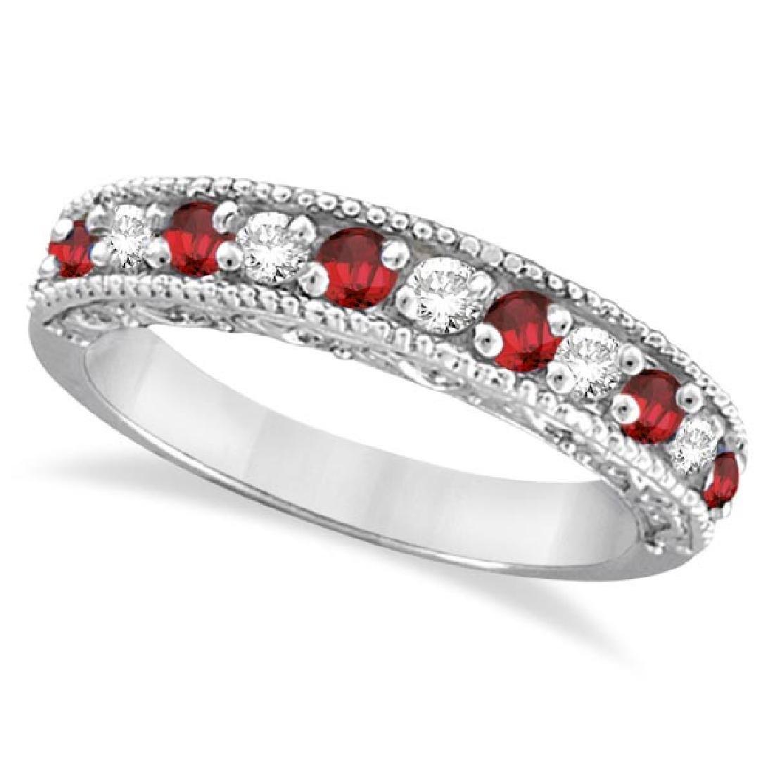 Diamond and Ruby Ring Anniversary Band 14k White Gold (
