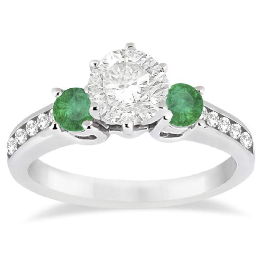 Three-Stone Emerald and Diamond Engagement Ring 14k Whi