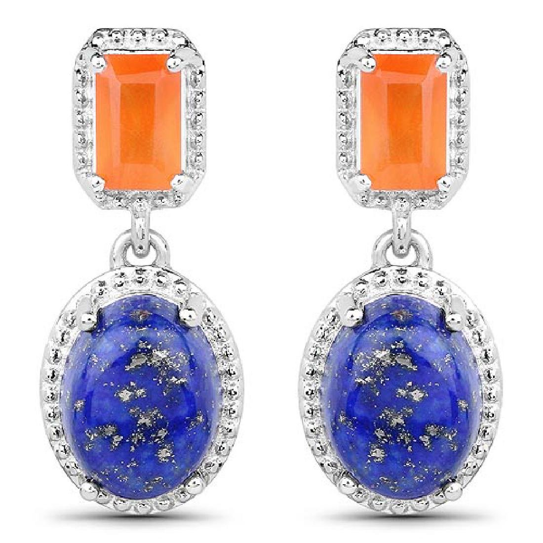 5.22 Carat Genuine Carnelian and Lapis .925 Sterling Si