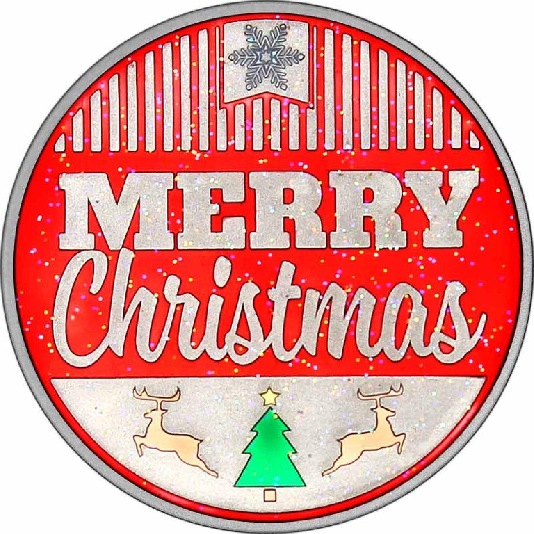 Enameled Christmas 2017 Silver Round XE-12 Merry Christ