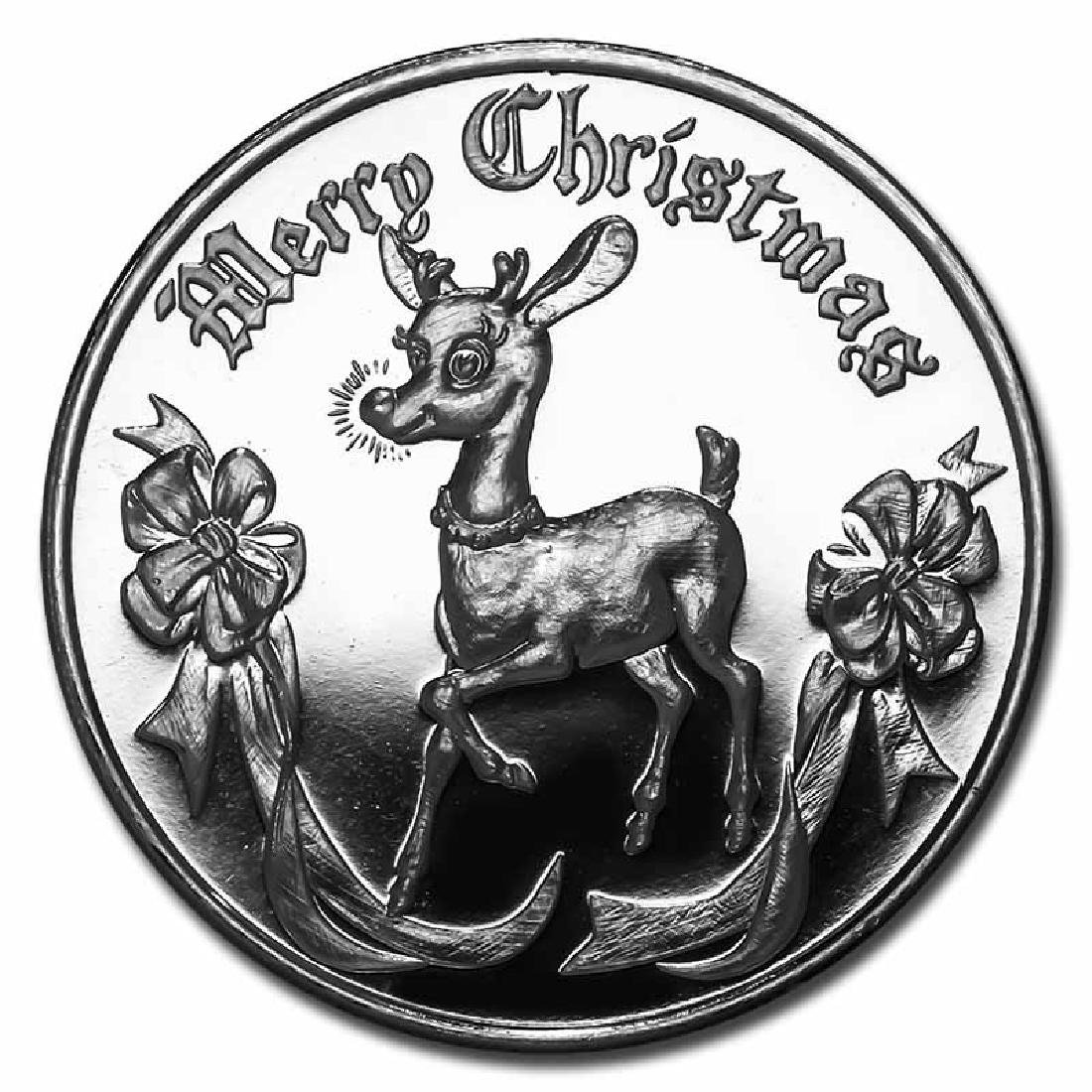 Christmas 2017 Silver Round Rudolph The Red Nosed Reind