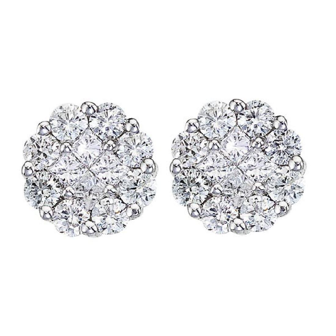 Diamond Clusters Flower Stud Earrings in 14k White Gold