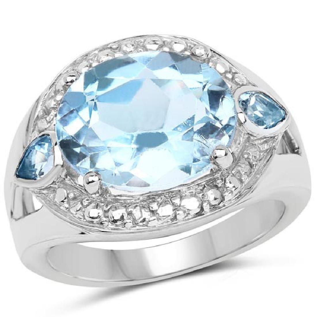 5.51 Carat Genuine Blue Topaz Brass Ring