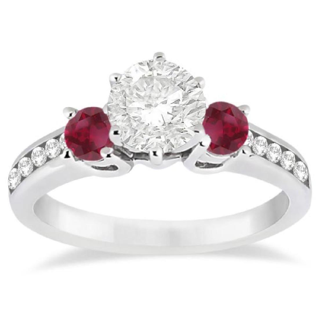 Three-Stone Ruby and Diamond Engagement Ring 14k White