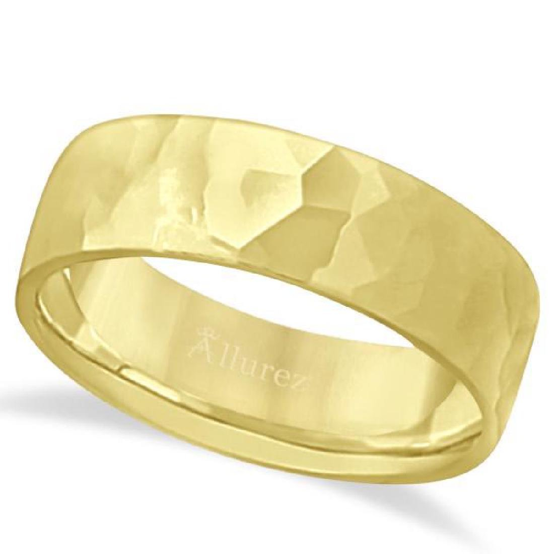 Mens Hammered Finished Carved Band Wedding Ring 18k Ye