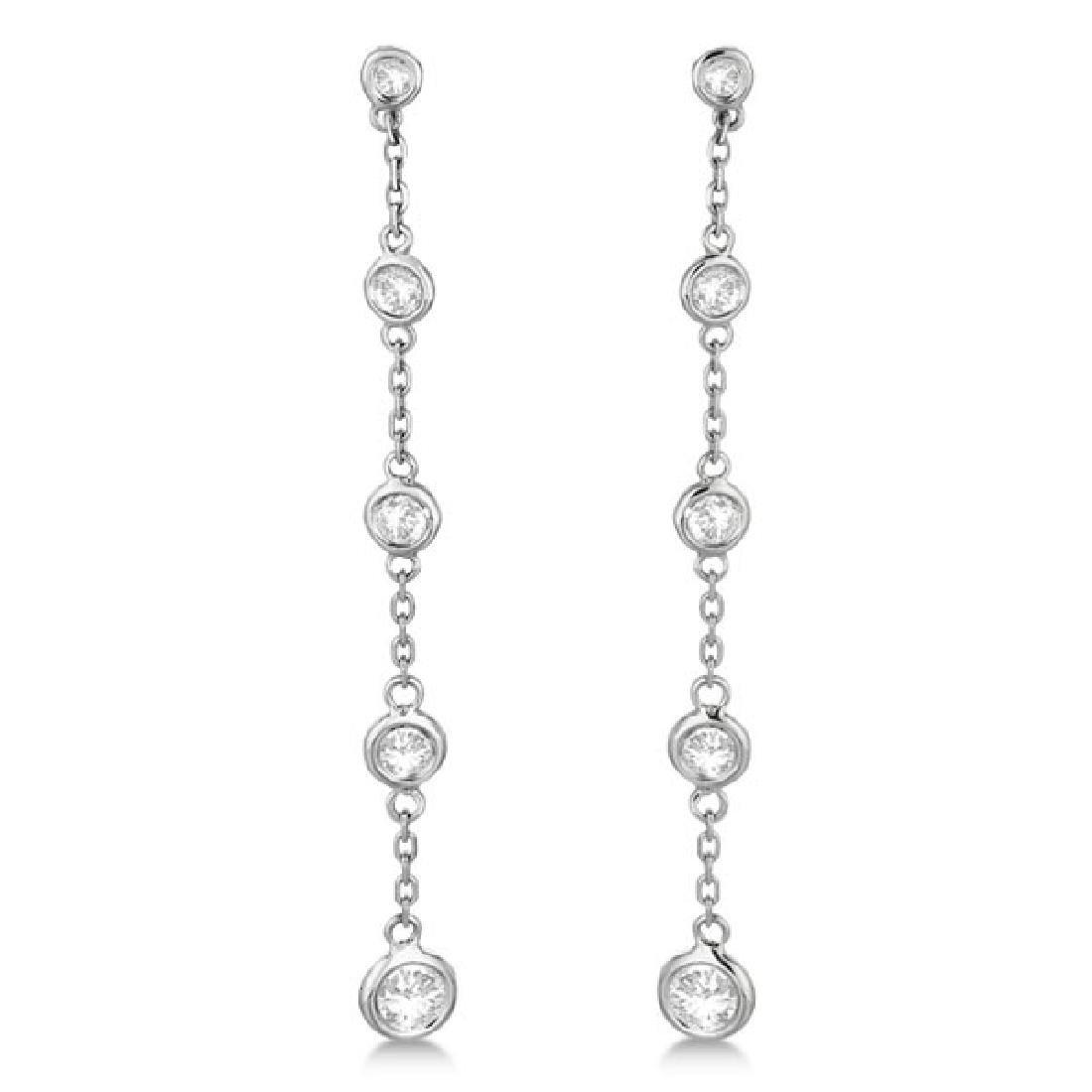 Bezel-Set Diamonds By The Yard Drop Earrings 14k White