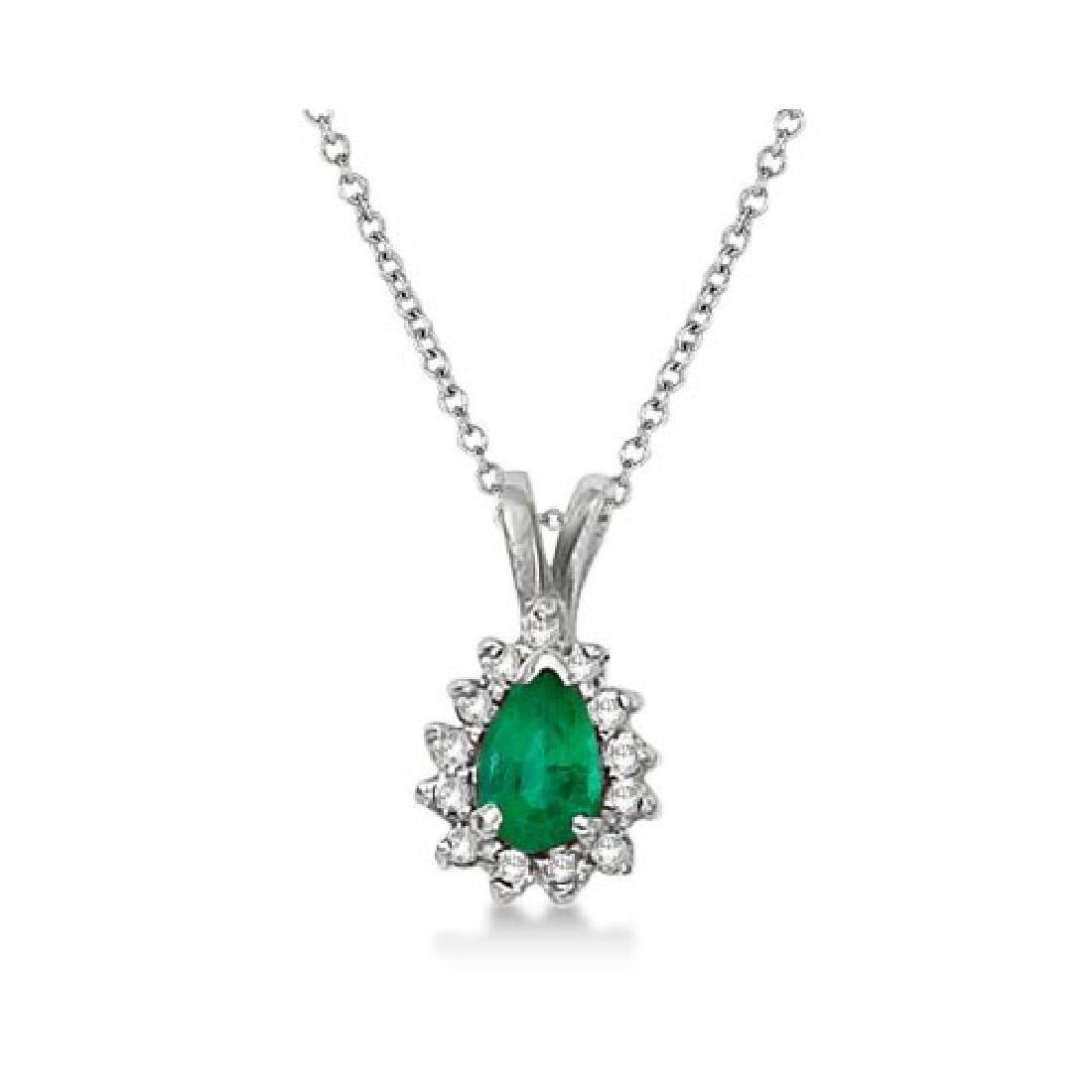 Pear Emerald and Diamond Pendant Necklace 14k White Gol