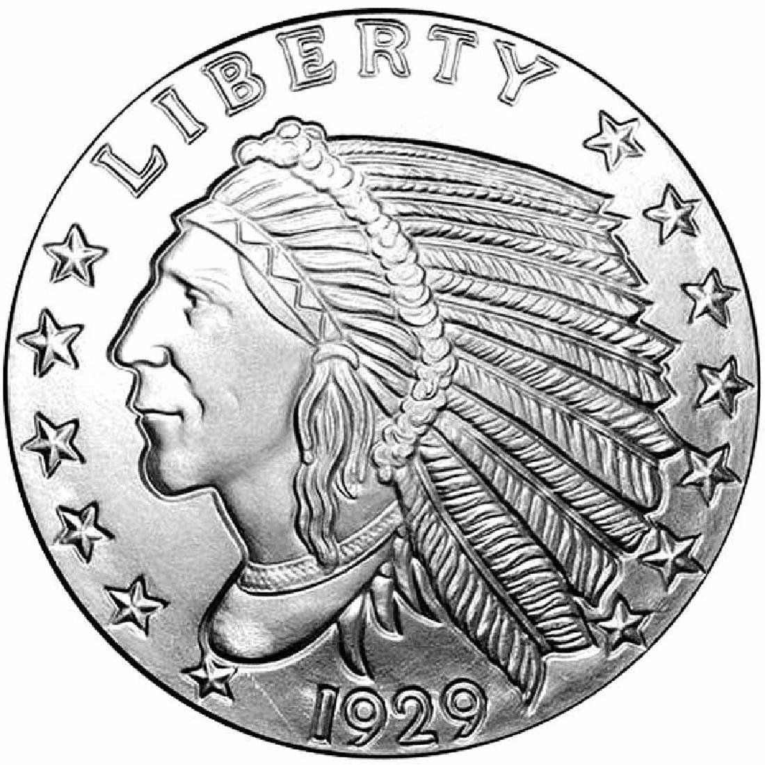 Silver Bullion 1/2 oz Incuse Indian Round .999 Fine
