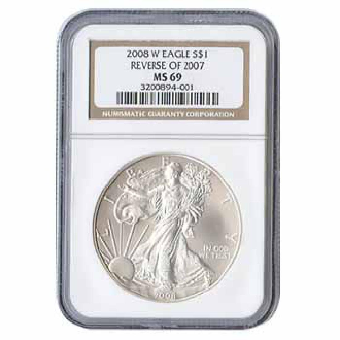 Burnished 2008-W Silver Eagle MS69 NGC Reverse Of 07