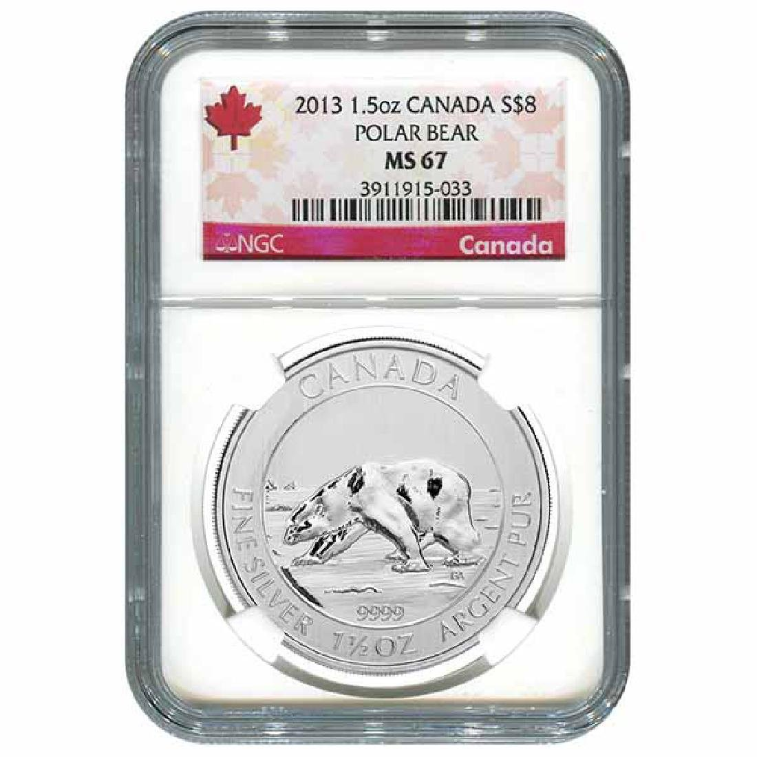 Certified 2013 Canadian Silver Polar Bear 1.5 oz MS67 N