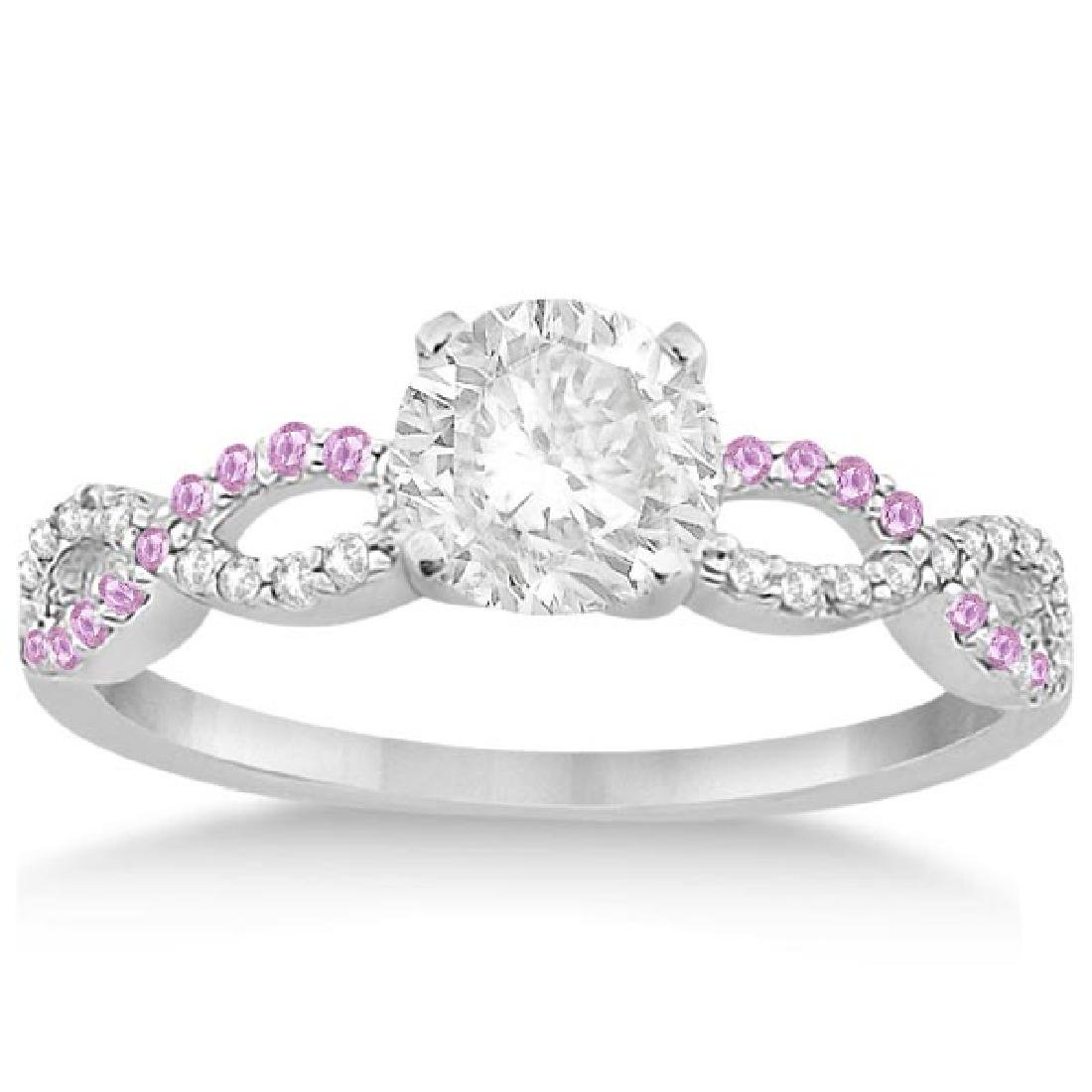 Infinity Diamond and Pink Sapphire Engagement Ring 14K
