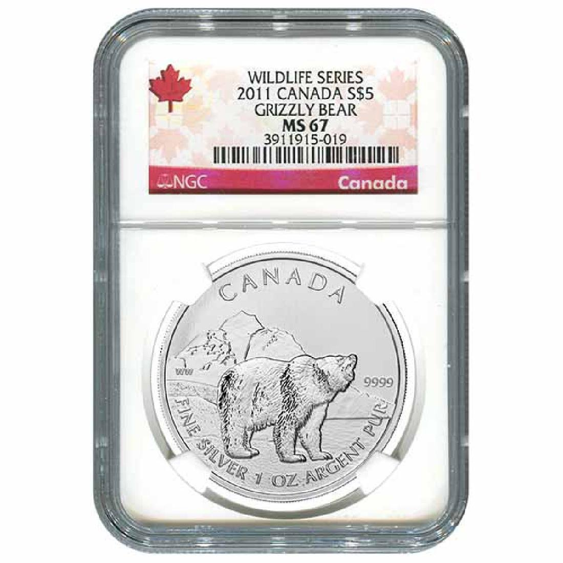 Certified 2011 Canadian Silver Grizzly Bear 1 oz MS67 N