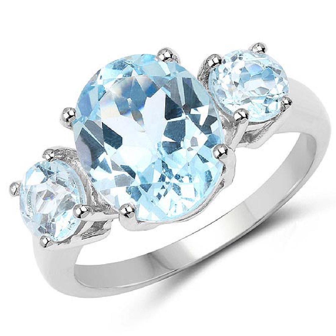 5.20 Carat Genuine Blue Topaz .925 Sterling Silver Ring