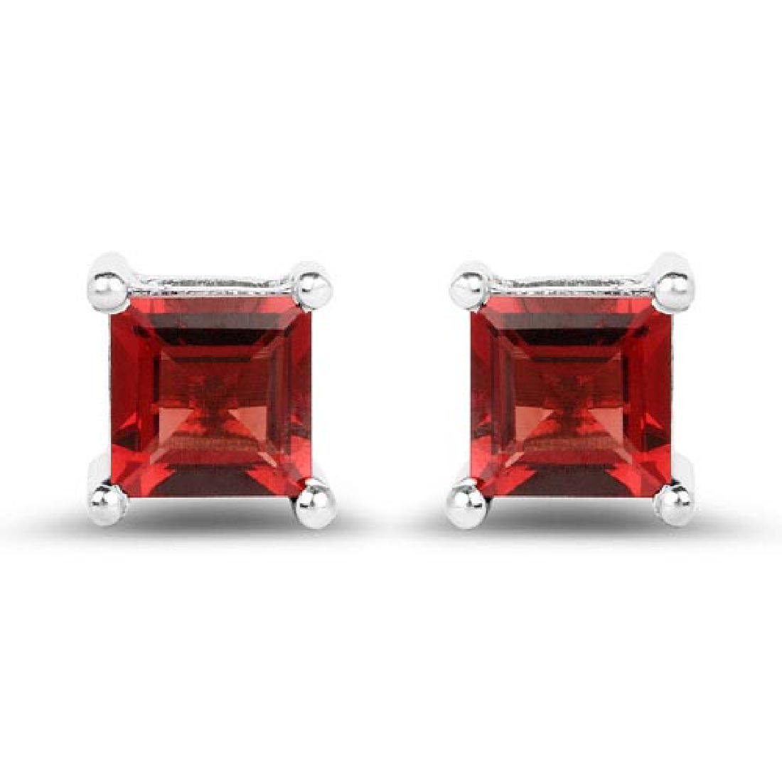 2.64 Carat Genuine Garnet .925 Sterling Silver Earrings