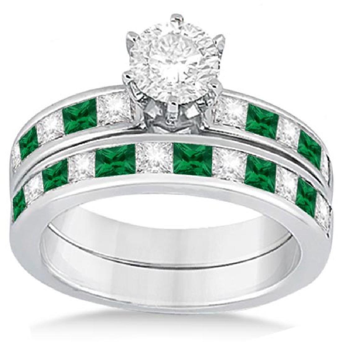 Channel Emerald and Diamond Bridal Set 18k White Gold (