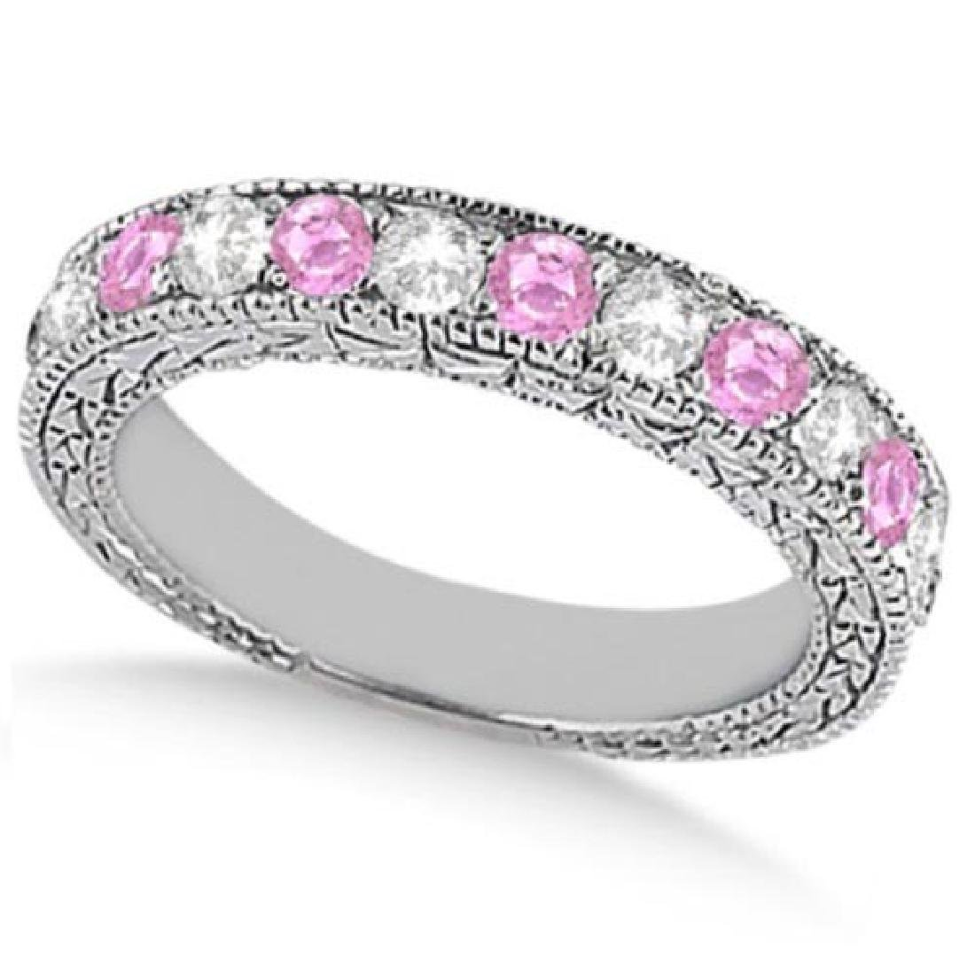Antique Pink Sapphire and Diamond Wedding Ring 14kt Whi