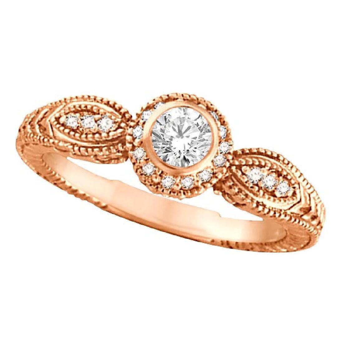 Venetian Style Diamond Bezel Ring 14K Rose Gold (0.40 c