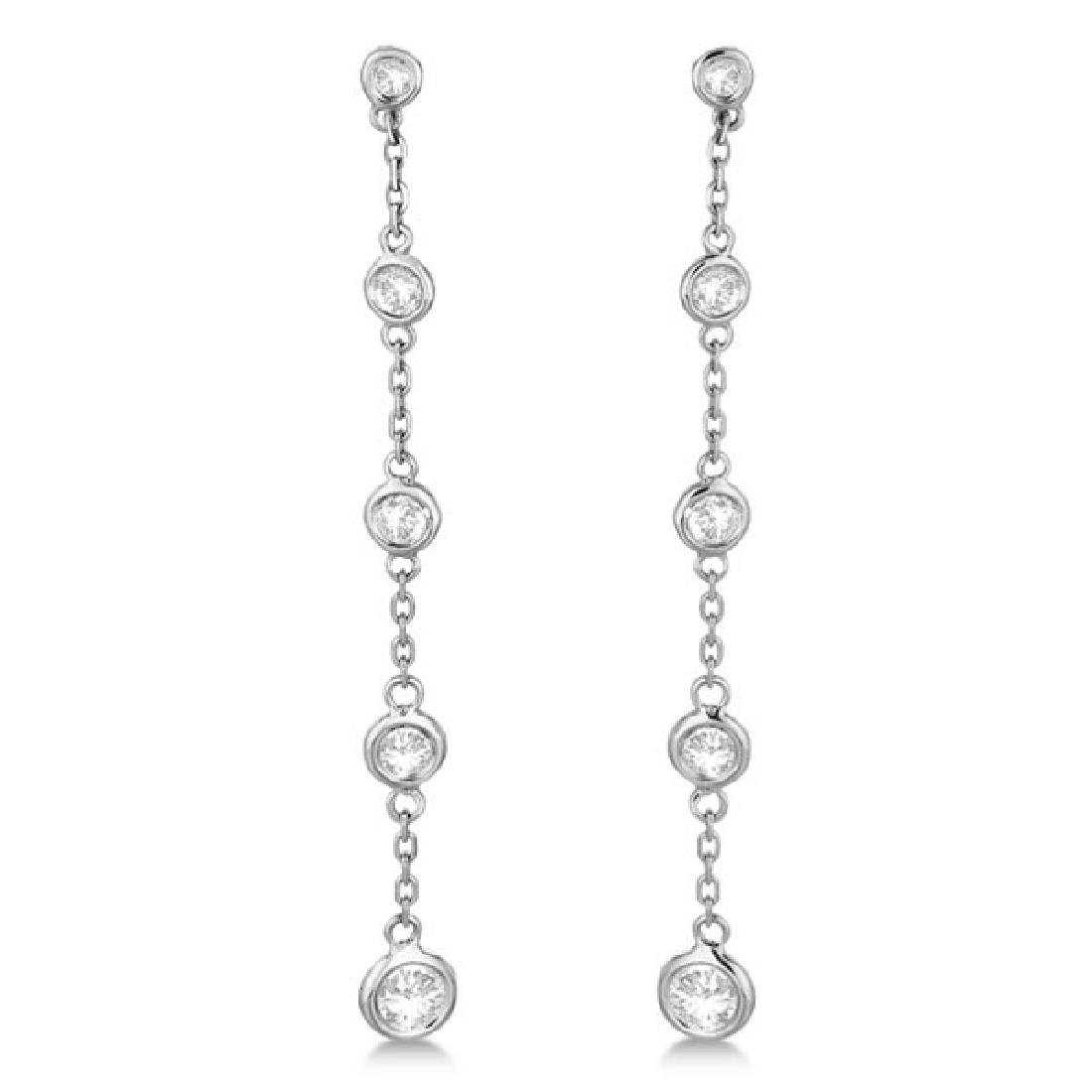 Bezel-Set Diamonds By The Yard Drop Earrings 14k White