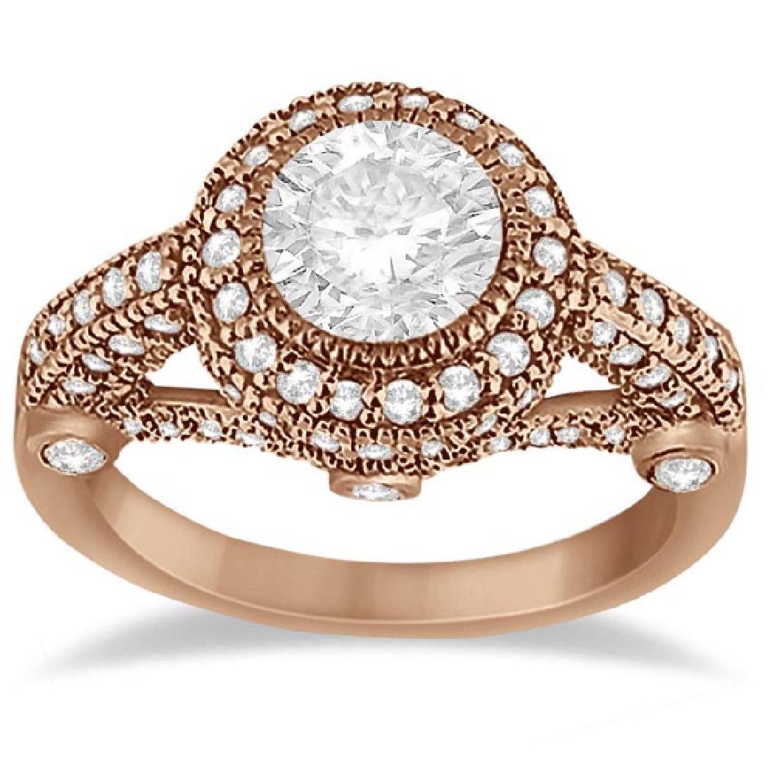 Vintage Diamond Halo Art Deco Engagement Ring 18k Rose