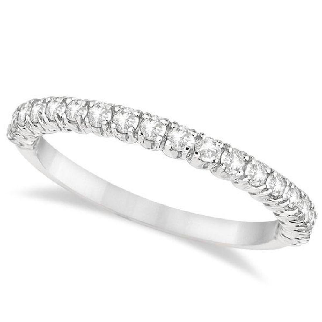 Half-Eternity Pave-Set Thin Diamond Stacking Ring 14k W