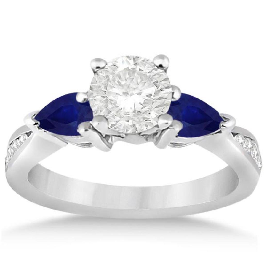 Diamond and Pear Blue Sapphire Engagement Ring 14k Whit