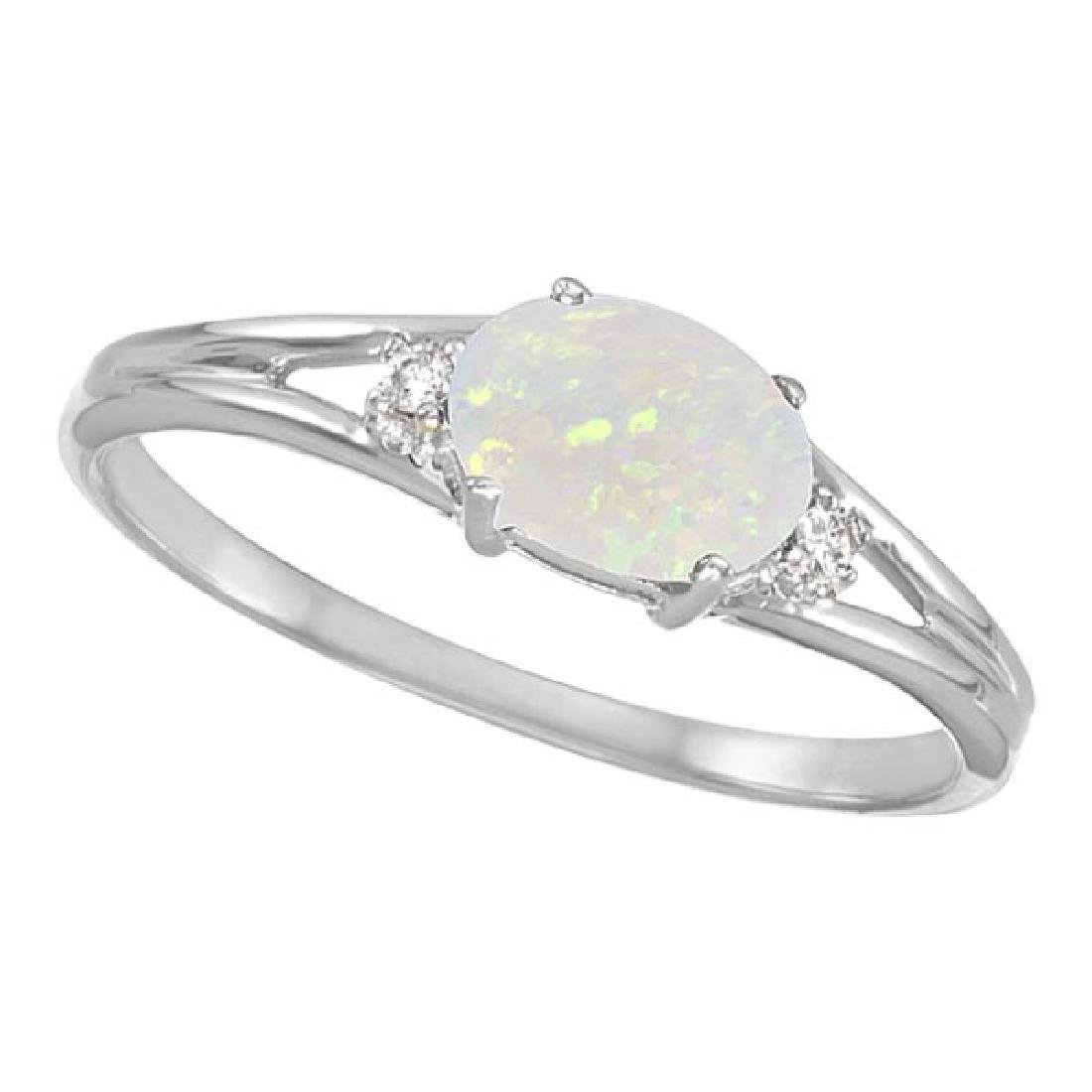 Oval Opal and Diamond Ring in 14K White Gold (0.27ct)